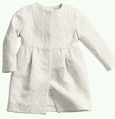 H&M All For Children UNICEF White Silver Brocade Coat 2-3 BNWT
