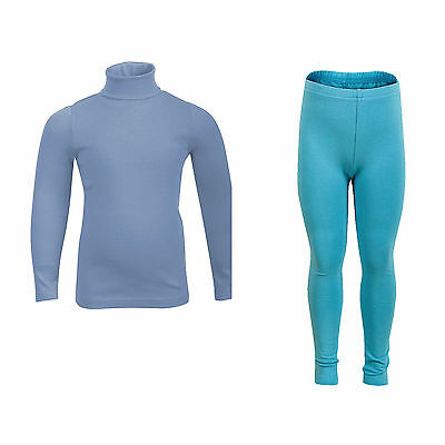 2 PIECE SET 2-3 Years Girls Kids Winter OUTFIT Blue Polo Jumper Top & Leggings • EUR 4,92