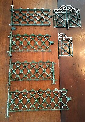 Antique Victorian cast iron display scene fence pieces
