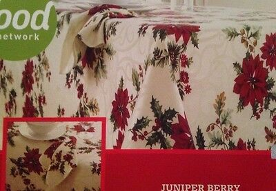 """Food Network Christmas """"JUNIPER BERRY"""" 70 inch round Poinsettia tablecloth NIP"""