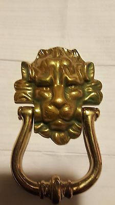 "Vintage Antique 6"" Lions Head Brass Door Knocker"