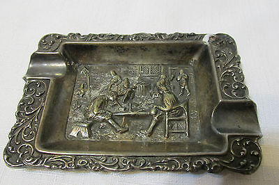 Antique Silver Plated Twin Handled Dish/Ash Tray With Figural Tavern Scene