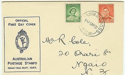 1937 KGVI Australia Post Office First Day Cover -- see details