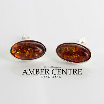 Italian Made Sterling Silver Cufflinks  Cognac Baltic Amber CF012 RRP£129!!