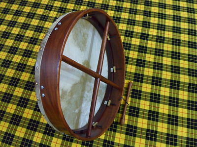 "NEW IRISH TUNE ABLE BODHRAN ROSEWOOD 18"" With GOATSKIN HEAD FREE CARRYING CASE"