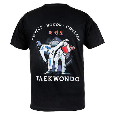 T-Shirt Mma Taekwondo Ideal For Mma Treining Gym Casual Wears 100% Cotton Black