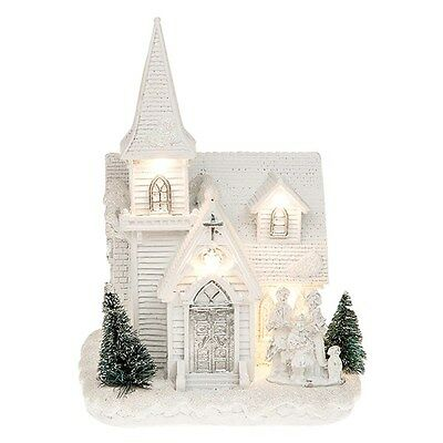 Shudehill Giftware Festive Frost LED Light Up Christmas Church - Large