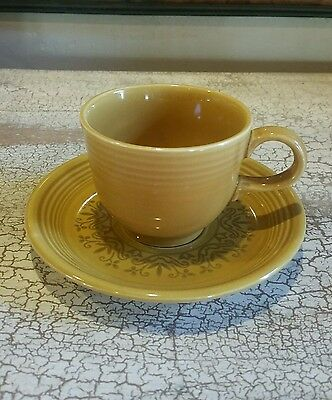 Fiesta Vintage Ironstone Cup Saucer Antique Gold Casualstone EUC