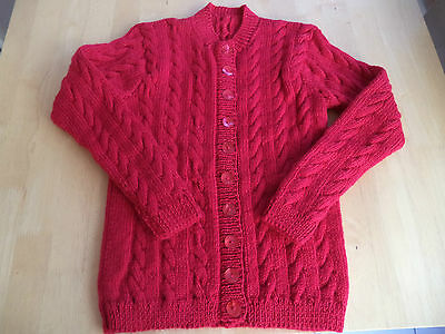 """Girls hand knitted long cardigan 26"""" chest approx age 4,5,6 years  Red"""