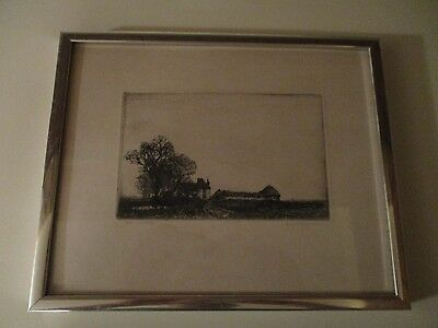Vintage Art Etching / Print - The Lone Farm - Artist Signed