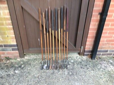 10 Hickory Shafted Irons In Good Overall Condition.