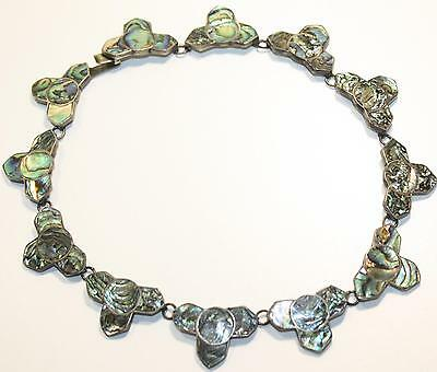 Gorgeous Vintage Mexico Silver Abalone Inlay Necklace