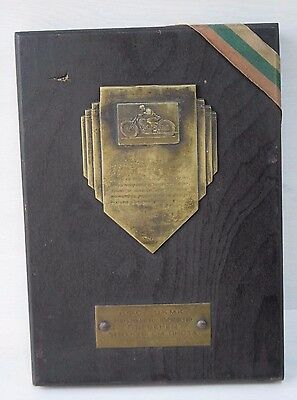 Authentic Bulgarian Communist Award Sign 1st Place Track Motorcycle Championship