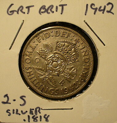 Silver Great Britain Two Shillings 1942