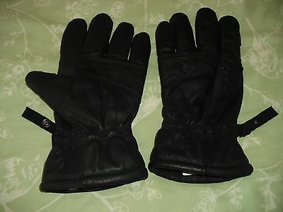 Mens XXL Black Leather Motorcycle Gloves