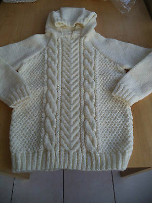 "Unisex hand knitted Aran hooded jumper chest 30"" approx age 9,10,11 years"