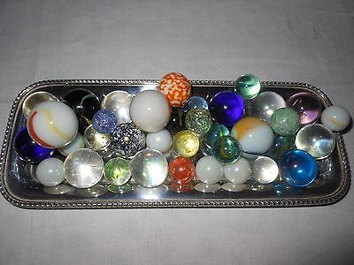 Lot of 37 Victorian / Vintage Glass MARBLES Mixed Large & Small