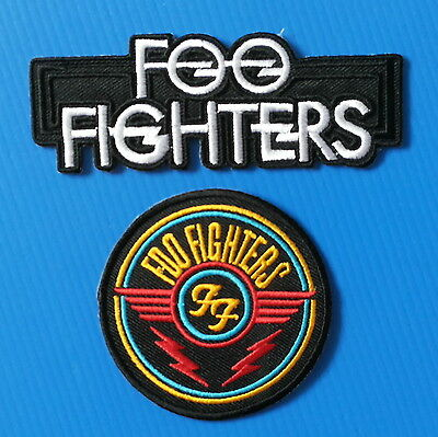 2 Lot FOO FIGHTERS  4.5 & 3.Inch Embrodered Iron Or Sewn On Patches W/ FREE SHIP