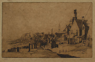 Original Signed 20th Century Etching, Coastal Town, Mounted, Marie Preso [?]