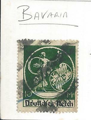 Germany - 1920 - 10 mark Bavaria overprinted for Germany - Used