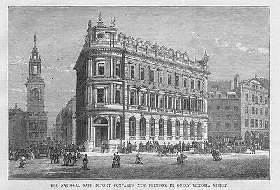 LONDON The National Safe Deposit Co in Queen Victoria Street Antique Print 1873