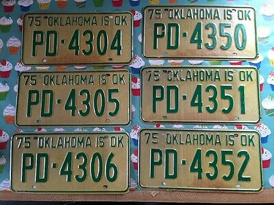 Unissued 1975 Oklahoma License Plate - Oklahoma Is Ok - 1 Plate Only - Choose 1