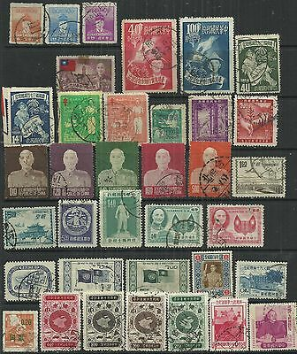 Taiwan 1950/6 36 used stamps some optd as scan