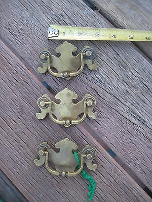 "Vintage 2 1/2"" Drawer Cabinet Brass Bail Pull Set of 3"