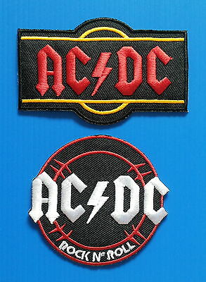 2 LOT AC/DC   Embrdered Iron Or Sewn On Patches Free Ship