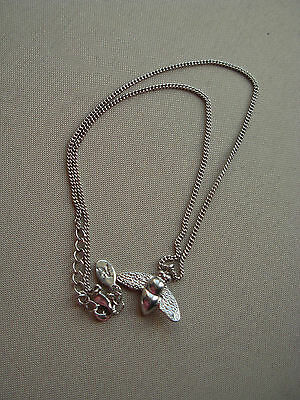Accessorize  Silver Colour Chain & Little  Fly Charm Pendant Necklace 19 In