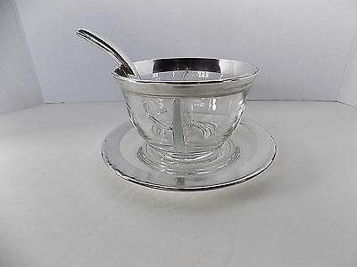 Dorothy Thorpe Mid-Century Modern Silver Band Divided Mayonnaise and Underplate
