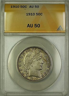 1910 Barber Silver Half Dollar 50c ANACS AU-50 (Better Coin) PM