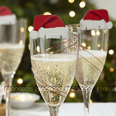 20PCS CHRISTMAS Santa Hat Wine GLASS DECORATIONS Table Red White Place Cards 02