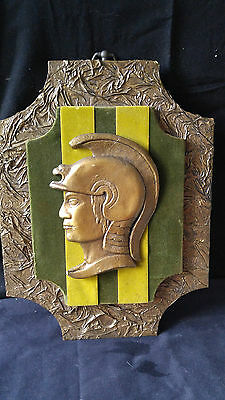 Vintage Estate Golden Roman Soldier Head Wall Mounted GENII ORIGINALS Art 13""