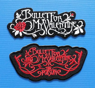 2 LOT BULLET FOR MY VALENTINE Iron Embroidered Sewn On Iron On PATCHES Free Ship