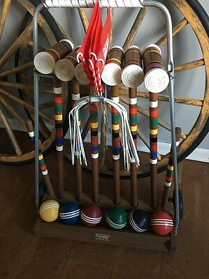Vintage Forster Croquet Set 6player With Wheel Rack Made In USA