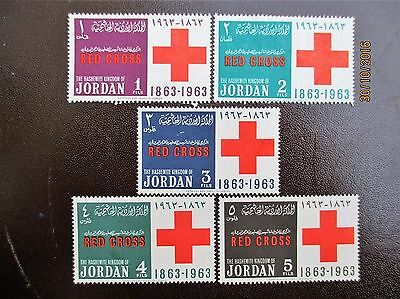 Jordan 1963 5 Stamps Selection 100 Years Anniversary Of Red Cross 1863-1963.