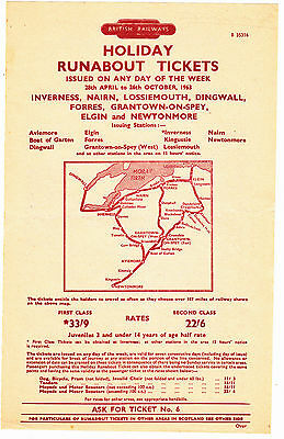 2 Sided 1963 Br Handbill Inverness Lossiemouth Elgin Etc With Map & Timetable