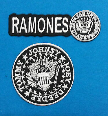 2 LOT RAMONES PUNK ROCK BAND Embrodered Iron Or Sewn On Patches Free Ship