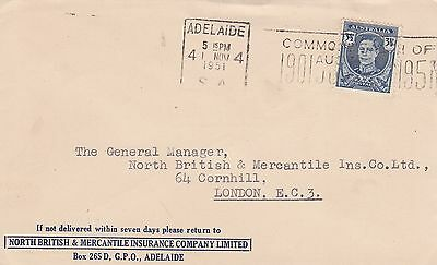 F 405 Adelaide Commercial seamail cover to UK; 3 1/2d rate;  KGVI solo stamp use