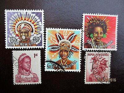 Papua New Guinea 5 Stamps Of Local Head Dresses, Costumes & Culture.