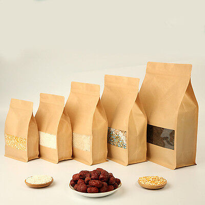 Kraft Paper Stand Up Bags Zip Lock Bag With Matte Window Food Grade Pouches