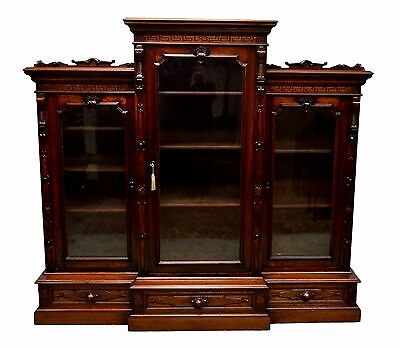 Antique 1800's Walnut Victorian 3 Door Bookcase