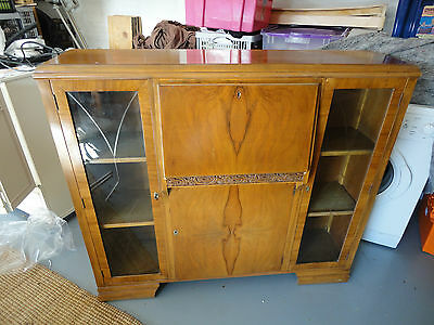 Art Deco style Bureau with glass doors and cupboard