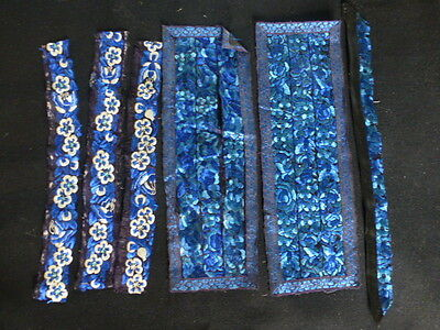 X6 Antique Chinese  Embroidered Silk Fragments /  Panels