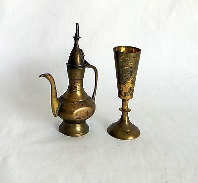 Brass copper miniatures set goblet and tea pot antique vintage Middle Eastern
