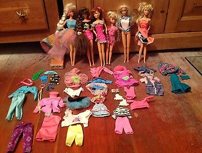 Lot Of 1970/80/90s Contemporary Barbie Dolls with their Clothing & Accessories