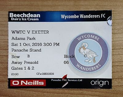 Wycombe Wanderers v Exeter City Ticket stub Sat. 1st Oct League Two