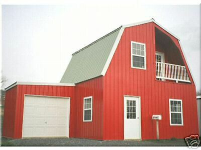 INSULATED!  Galvanized STEEL GAMBREL BUILDING KIT CABIN-can add garage later