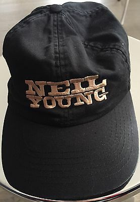 Rare Neil Young Black Hat Embroidered In Gold